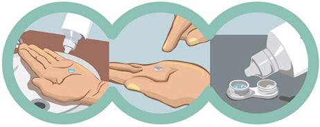 fa2e2684b1194 Coloque as lentes no estojo e cubra-as com a solução, sem exceder o limite  da borda.